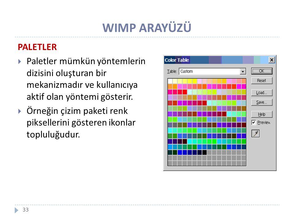 WIMP ARAYÜZÜ PALETLER. Paletler mümkün yöntemlerin dizisini oluşturan bir mekanizmadır ve kullanıcıya aktif olan yöntemi gösterir.