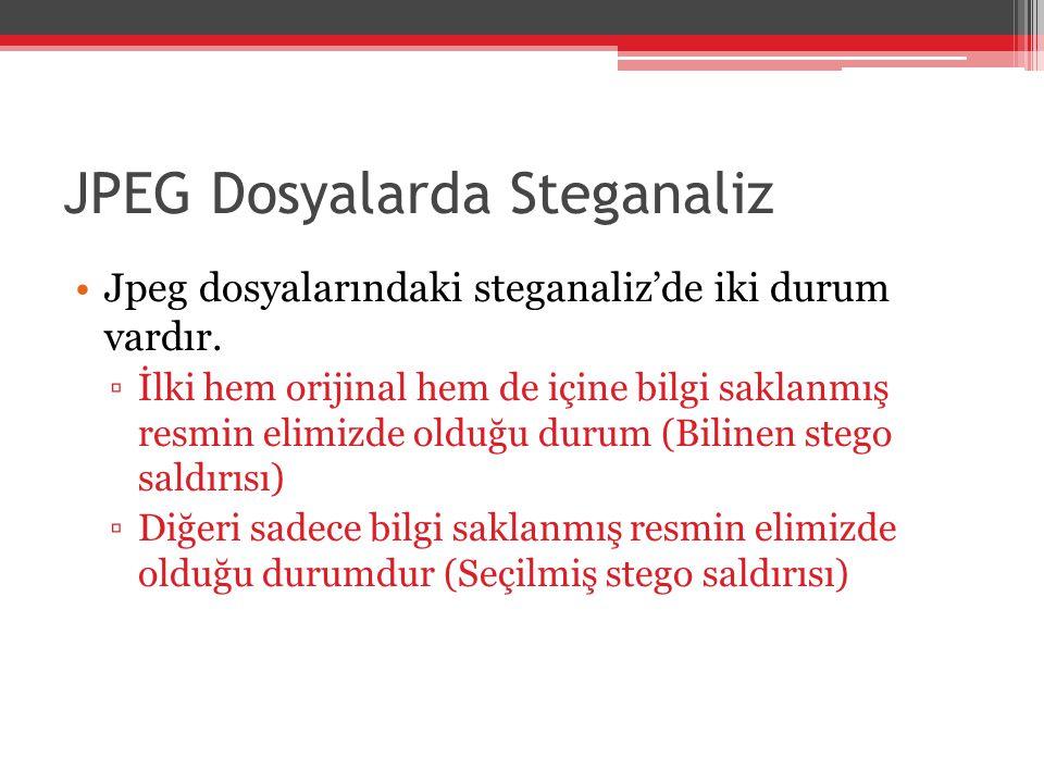 JPEG Dosyalarda Steganaliz