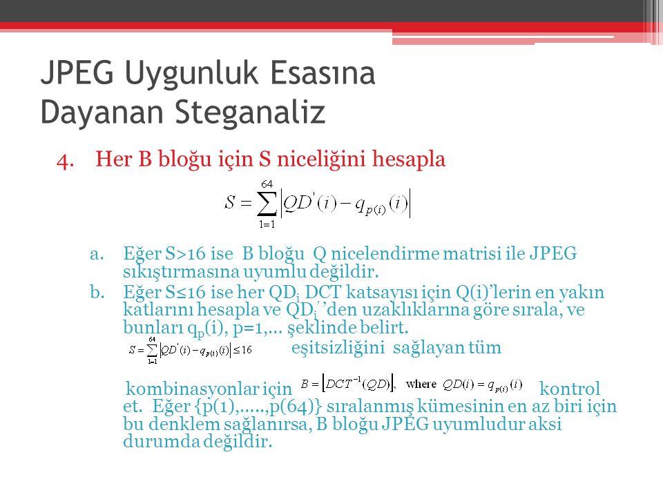 JPEG Uygunluk Esasına Dayanan Steganaliz