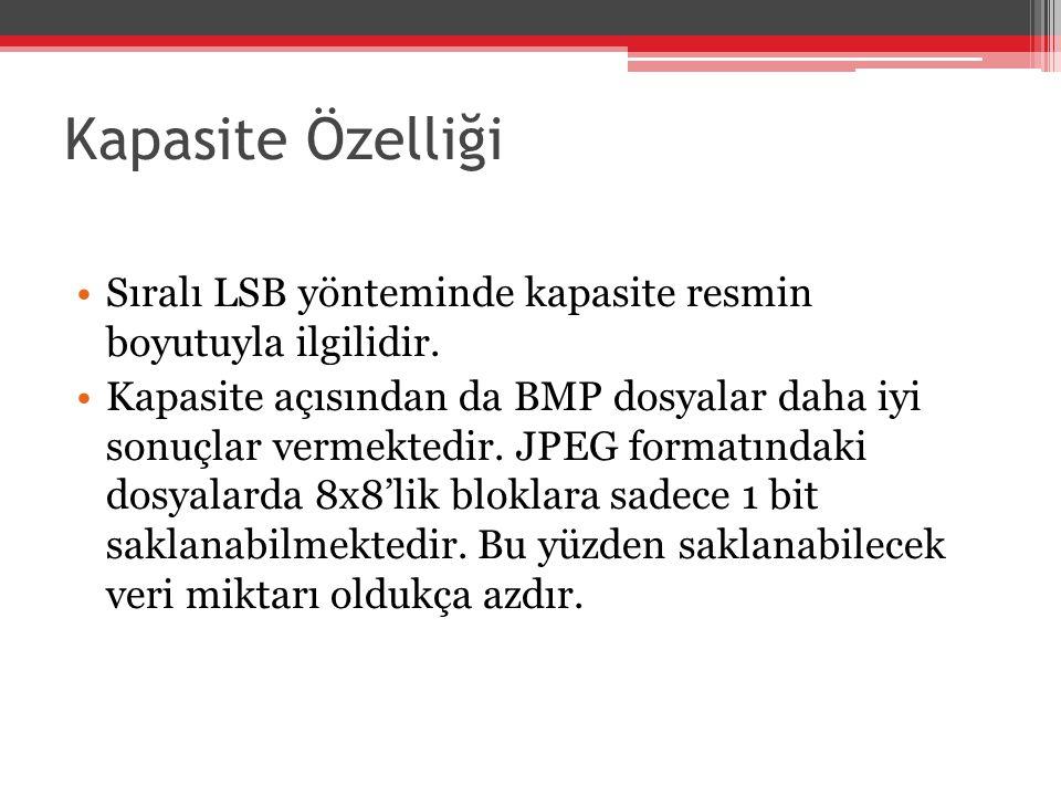 Kapasite Özelliği Sıralı LSB yönteminde kapasite resmin boyutuyla ilgilidir.