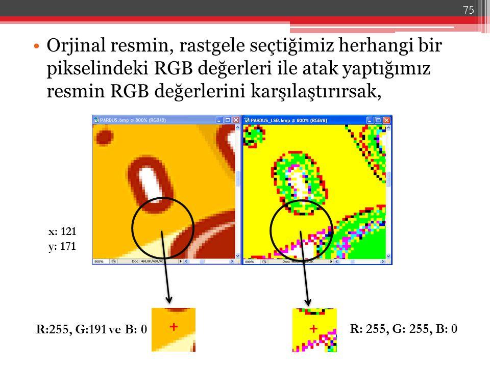 Orjinal resmin, rastgele seçtiğimiz herhangi bir pikselindeki RGB değerleri ile atak yaptığımız resmin RGB değerlerini karşılaştırırsak,