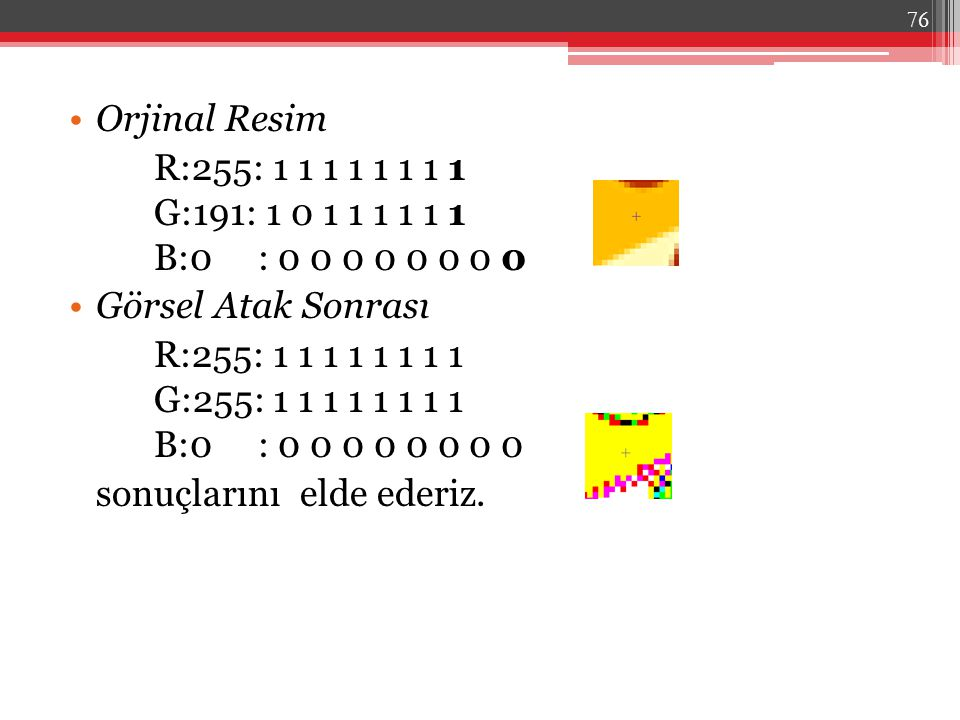 Orjinal Resim R:255: 1 1 1 1 1 1 1 1 G:191: 1 0 1 1 1 1 1 1 B:0 : 0 0 0 0 0 0 0 0. Görsel Atak Sonrası.