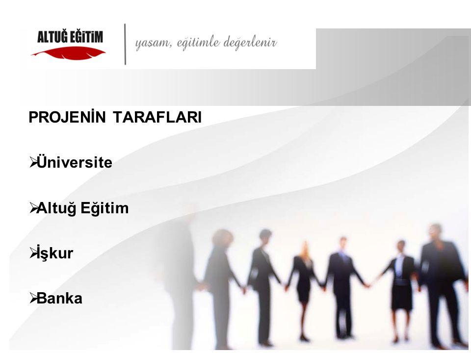 PROJENİN TARAFLARI Üniversite Altuğ Eğitim İşkur Banka