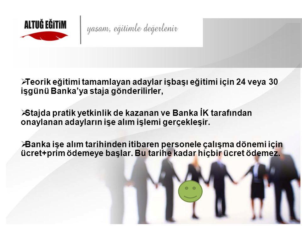 Teorik eğitimi tamamlayan adaylar işbaşı eğitimi için 24 veya 30 işgünü Banka'ya staja gönderilirler,
