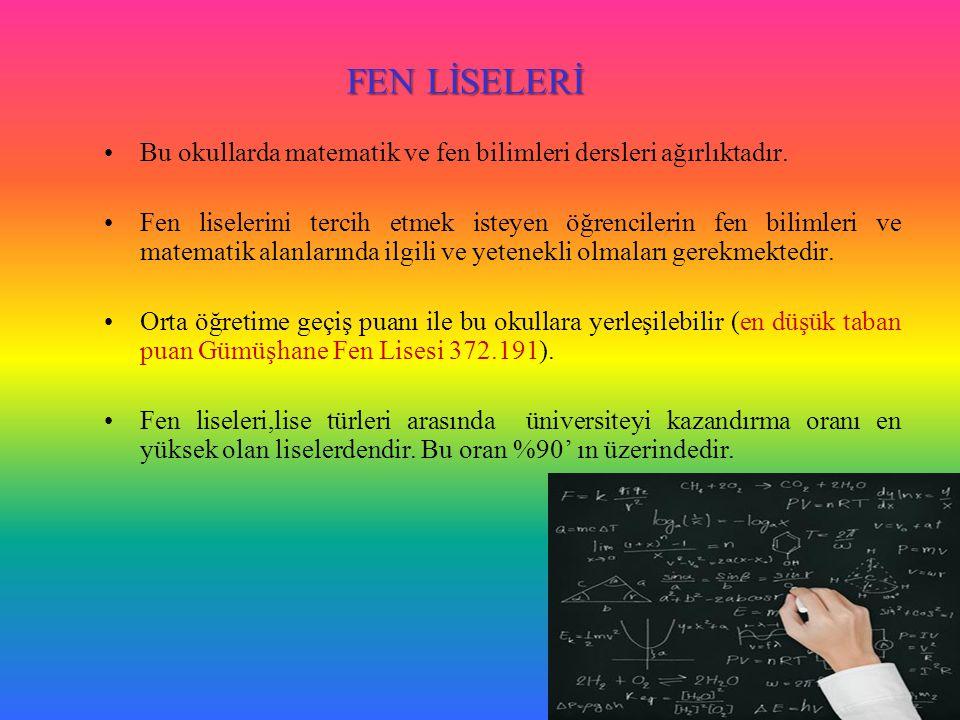 FEN LİSELERİ Bu okullarda matematik ve fen bilimleri dersleri ağırlıktadır.