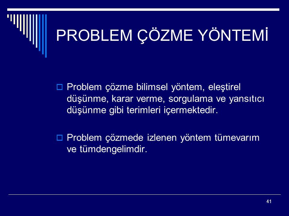 PROBLEM ÇÖZME YÖNTEMİ Problem çözme bilimsel yöntem, eleştirel düşünme, karar verme, sorgulama ve yansıtıcı düşünme gibi terimleri içermektedir.