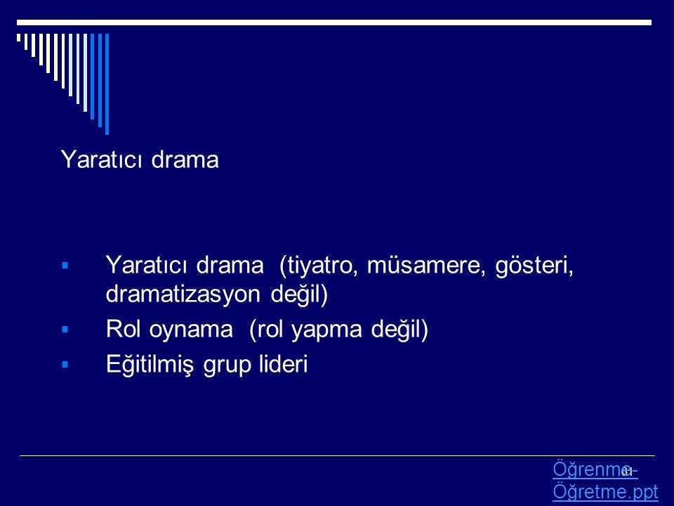 Yaratıcı drama (tiyatro, müsamere, gösteri, dramatizasyon değil)