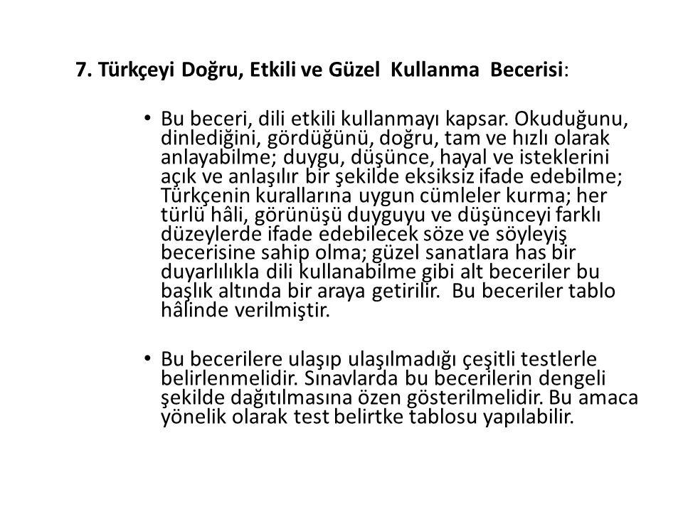 7. Türkçeyi Doğru, Etkili ve Güzel Kullanma Becerisi: