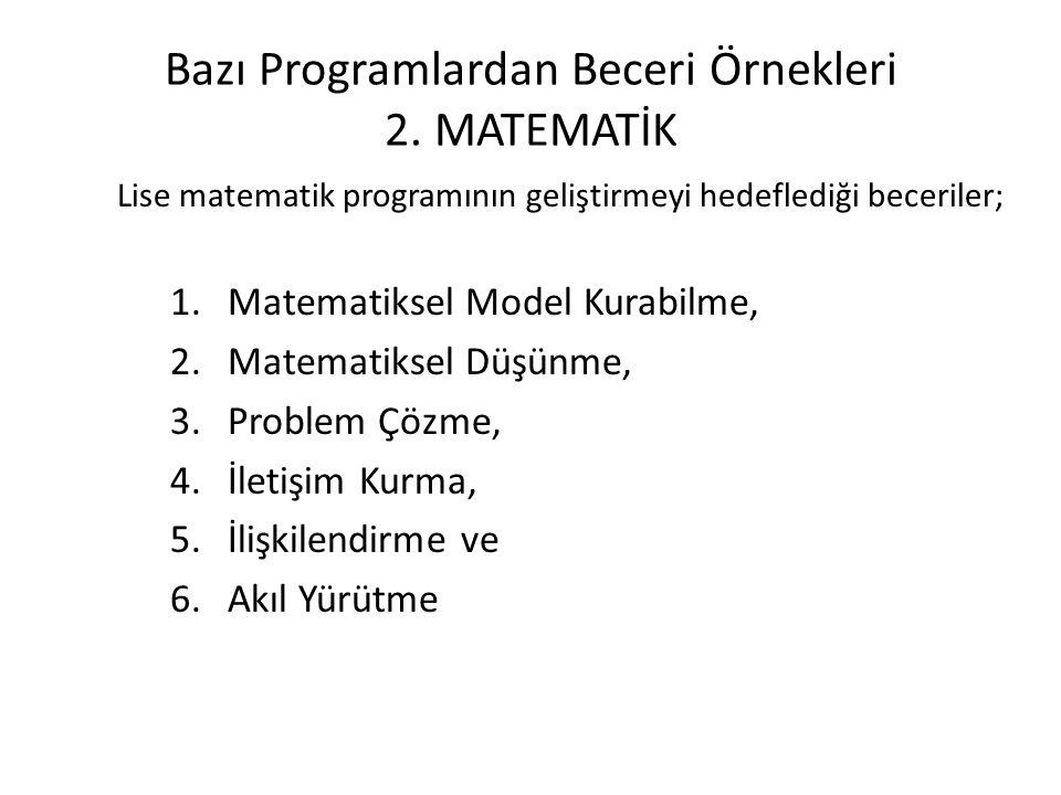 Bazı Programlardan Beceri Örnekleri 2. MATEMATİK