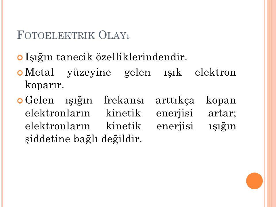 Fotoelektrik Olayı Işığın tanecik özelliklerindendir.