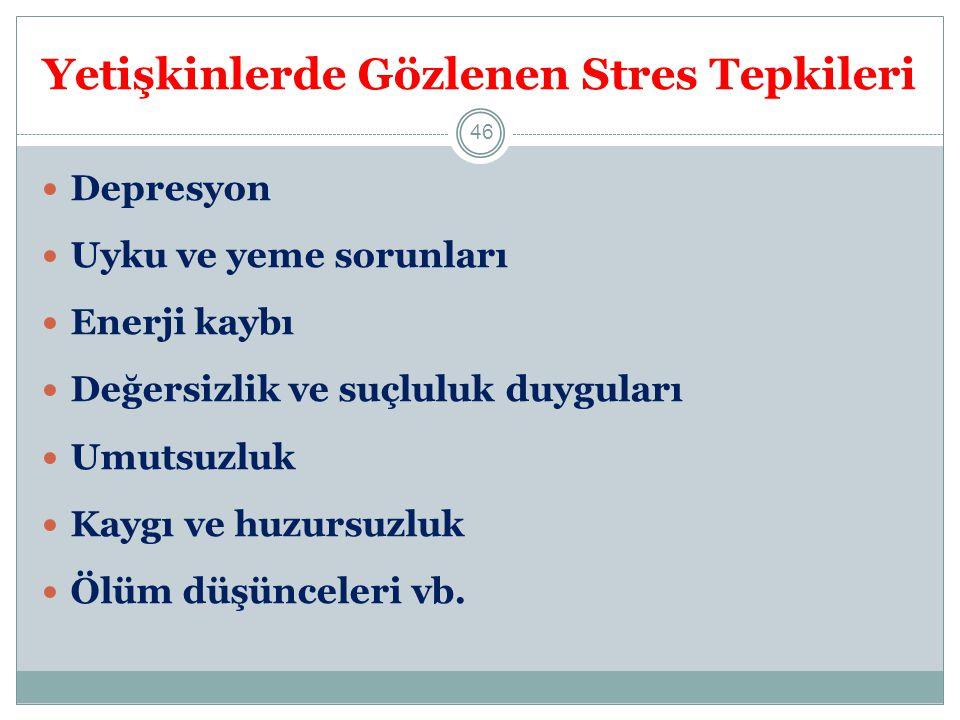 Yetişkinlerde Gözlenen Stres Tepkileri