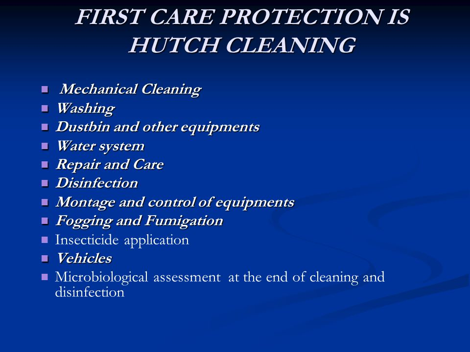 FIRST CARE PROTECTION IS HUTCH CLEANING