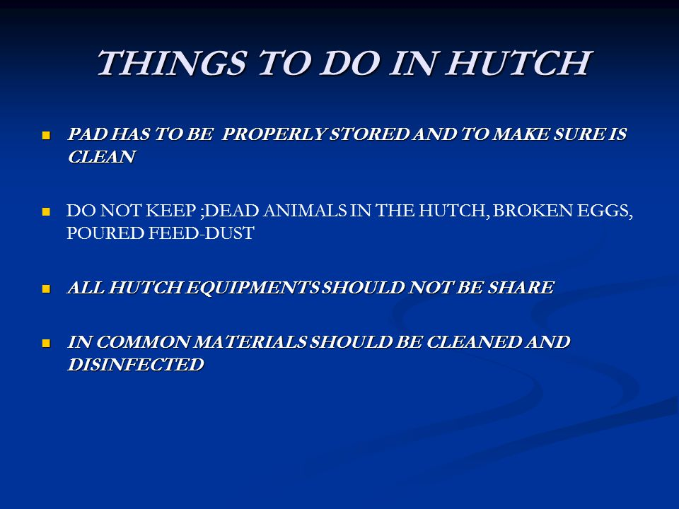THINGS TO DO IN HUTCH PAD HAS TO BE PROPERLY STORED AND TO MAKE SURE IS CLEAN.