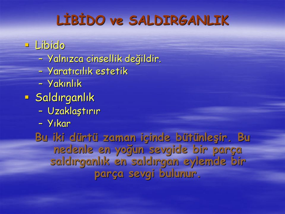 LİBİDO ve SALDIRGANLIK