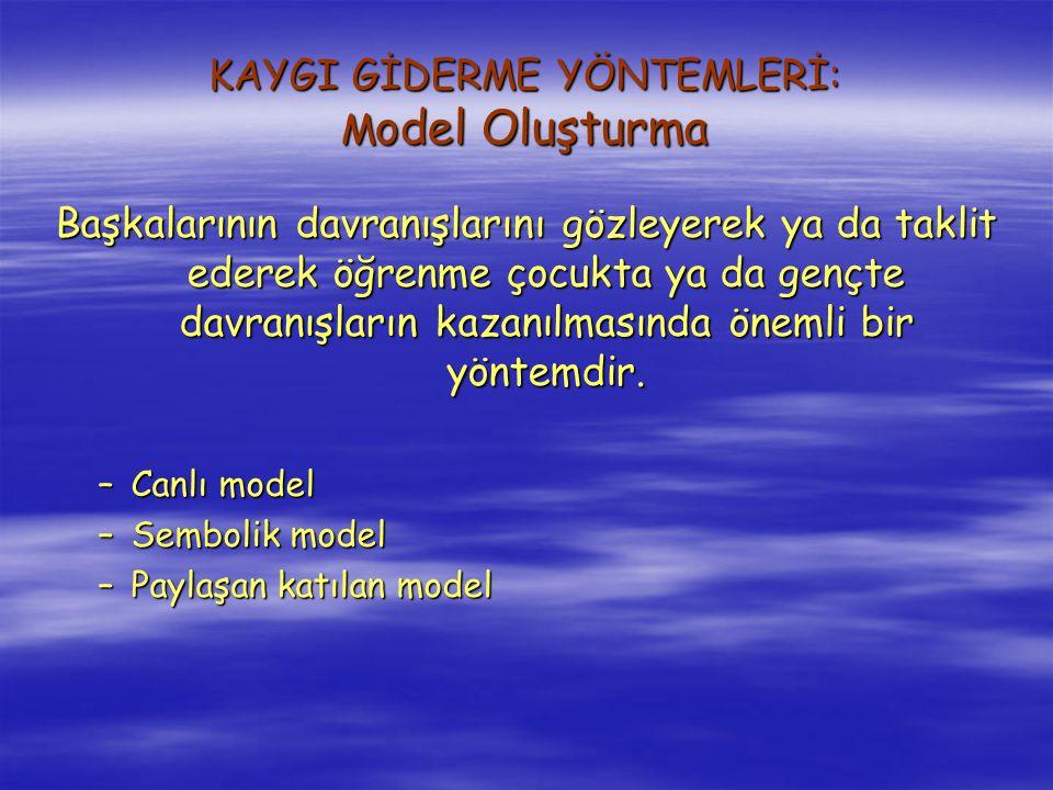 KAYGI GİDERME YÖNTEMLERİ: Model Oluşturma
