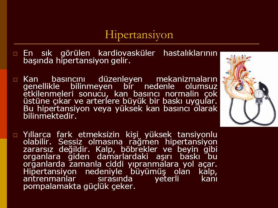 Hipertansiyon En sık görülen kardiovasküler hastalıklarının başında hipertansiyon gelir.