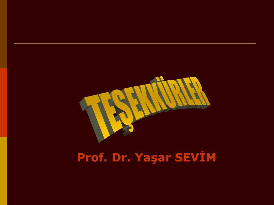TEŞEKKÜRLER Prof. Dr. Yaşar SEVİM