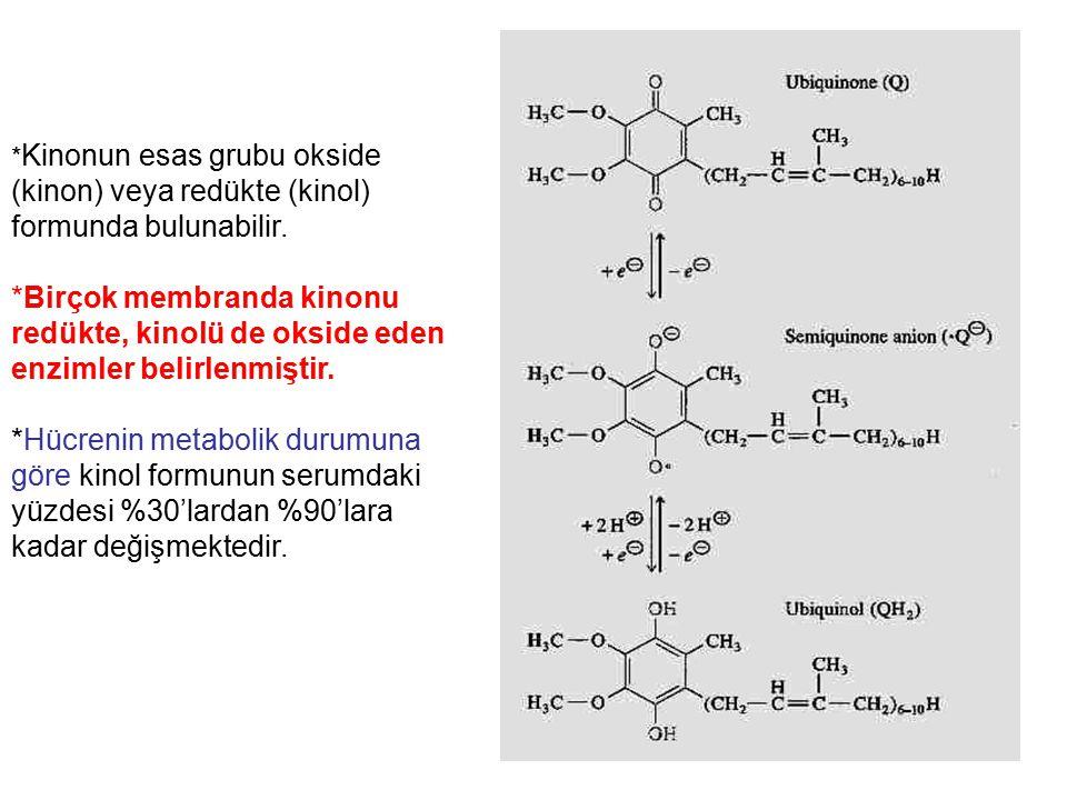 *Kinonun esas grubu okside (kinon) veya redükte (kinol) formunda bulunabilir.