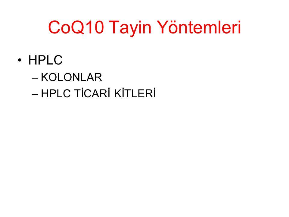 CoQ10 Tayin Yöntemleri HPLC KOLONLAR HPLC TİCARİ KİTLERİ