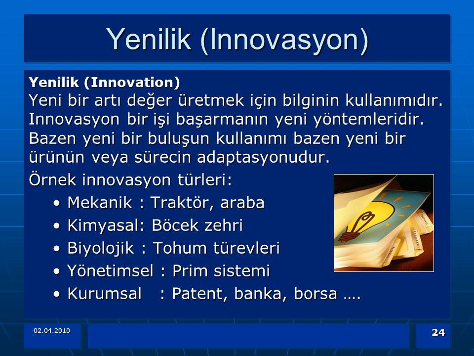 Yenilik (Innovasyon) Örnek innovasyon türleri: