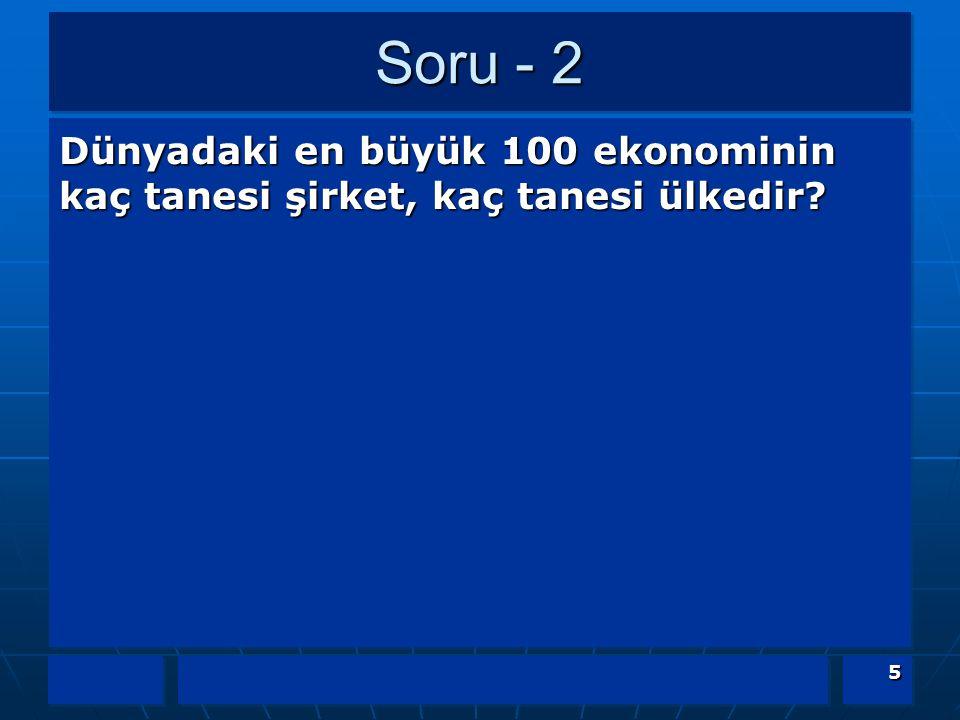 Soru - 2 Dünyadaki en büyük 100 ekonominin kaç tanesi şirket, kaç tanesi ülkedir 5