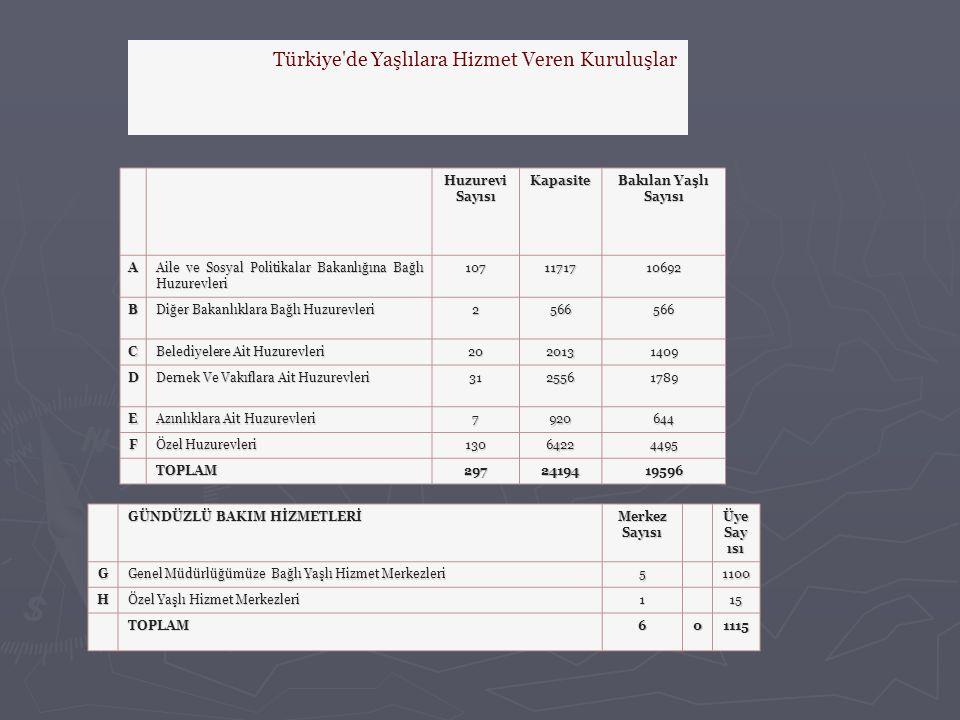 Türkiye de Yaşlılara Hizmet Veren Kuruluşlar
