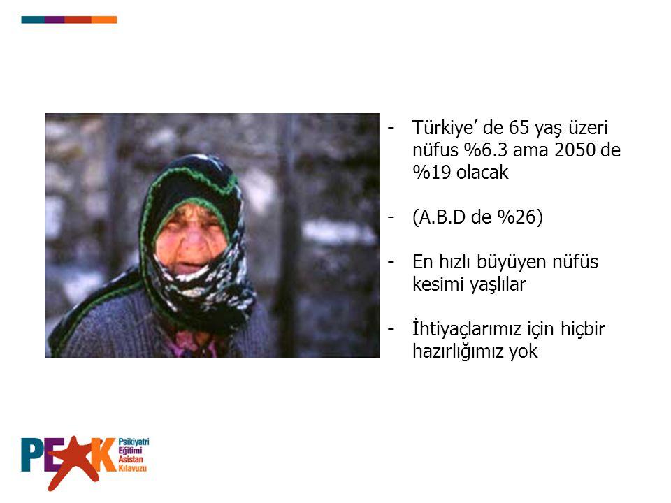 Türkiye' de 65 yaş üzeri nüfus %6.3 ama 2050 de %19 olacak