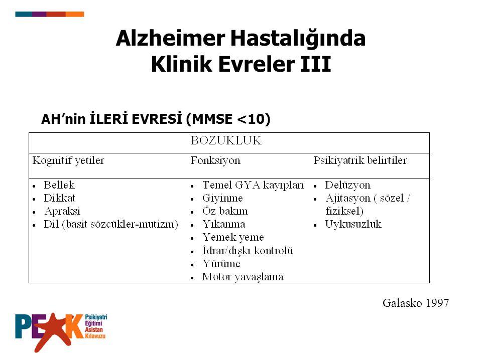 Alzheimer Hastalığında Klinik Evreler III