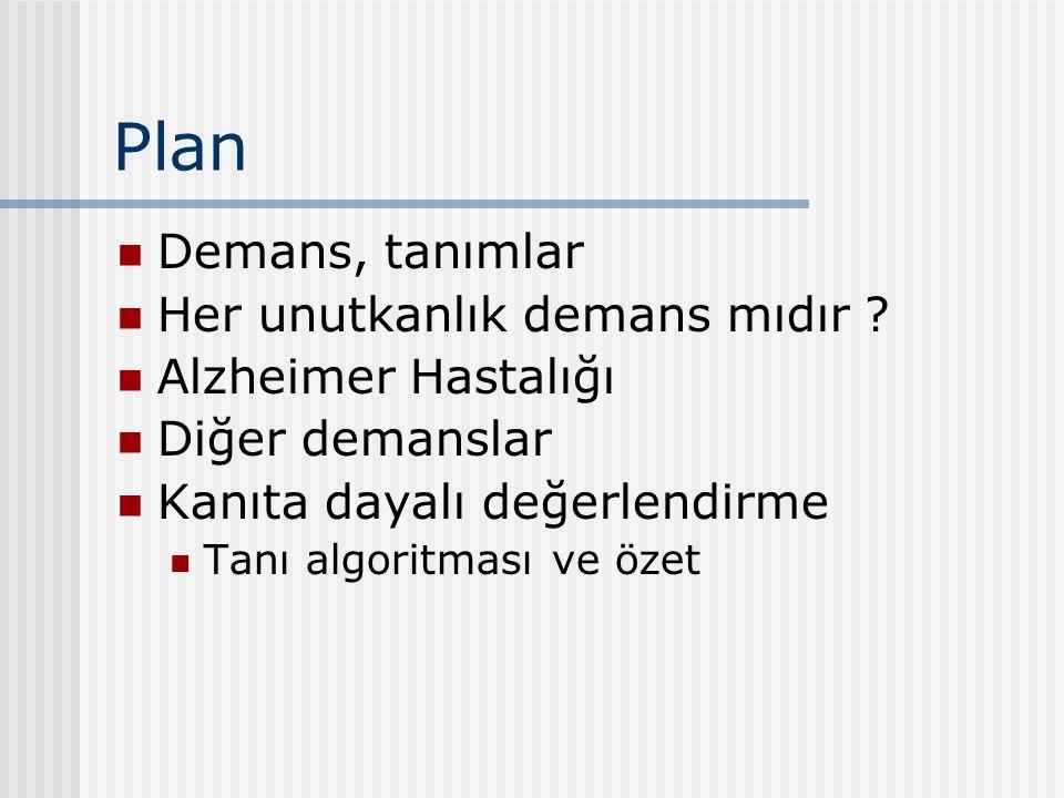 Plan Demans, tanımlar Her unutkanlık demans mıdır