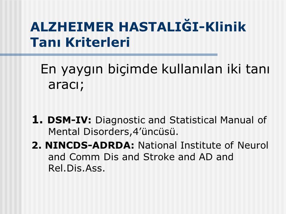 ALZHEIMER HASTALIĞI-Klinik Tanı Kriterleri