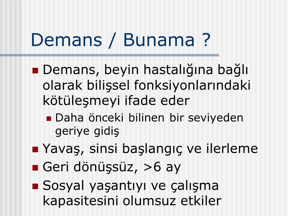Demans / Bunama Demans, beyin hastalığına bağlı olarak bilişsel fonksiyonlarındaki kötüleşmeyi ifade eder.