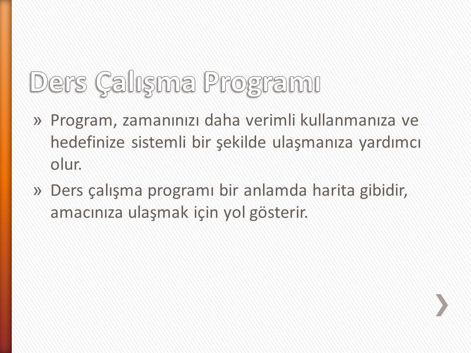 Ders Çalışma Programı Program, zamanınızı daha verimli kullanmanıza ve hedefinize sistemli bir şekilde ulaşmanıza yardımcı olur.