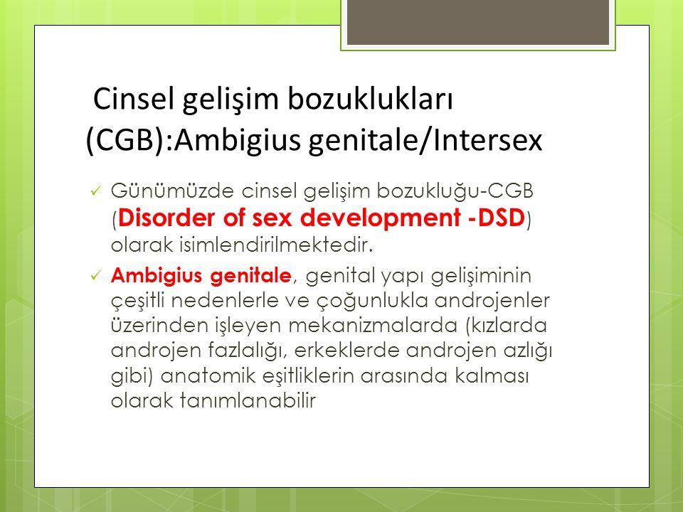 Cinsel gelişim bozuklukları (CGB):Ambigius genitale/Intersex