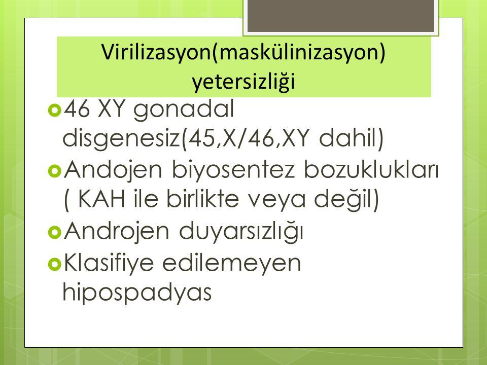 Virilizasyon(maskülinizasyon) yetersizliği