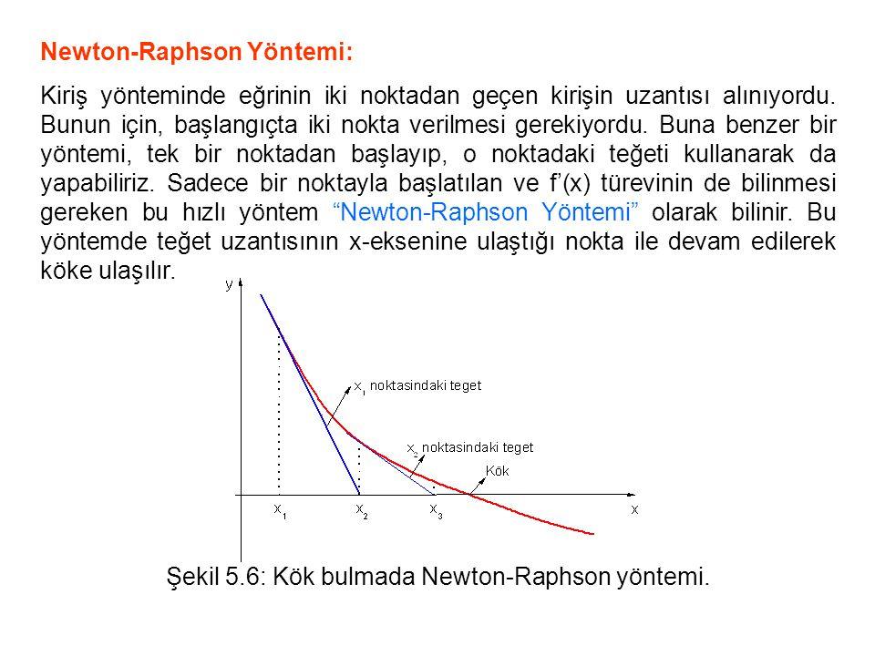 Şekil 5.6: Kök bulmada Newton-Raphson yöntemi.