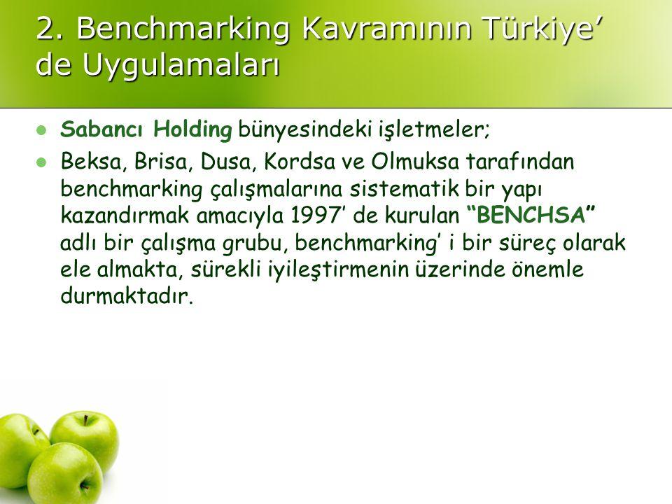 2. Benchmarking Kavramının Türkiye' de Uygulamaları