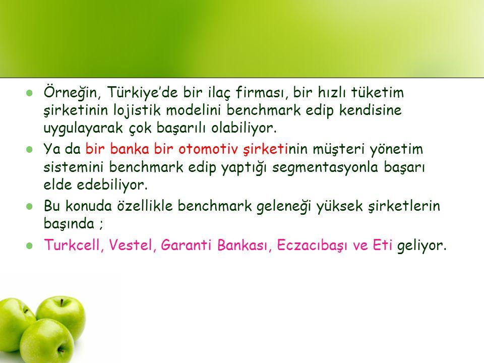 Örneğin, Türkiye'de bir ilaç firması, bir hızlı tüketim şirketinin lojistik modelini benchmark edip kendisine uygulayarak çok başarılı olabiliyor.