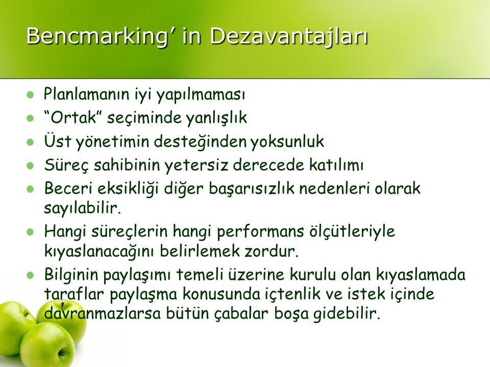 Bencmarking' in Dezavantajları