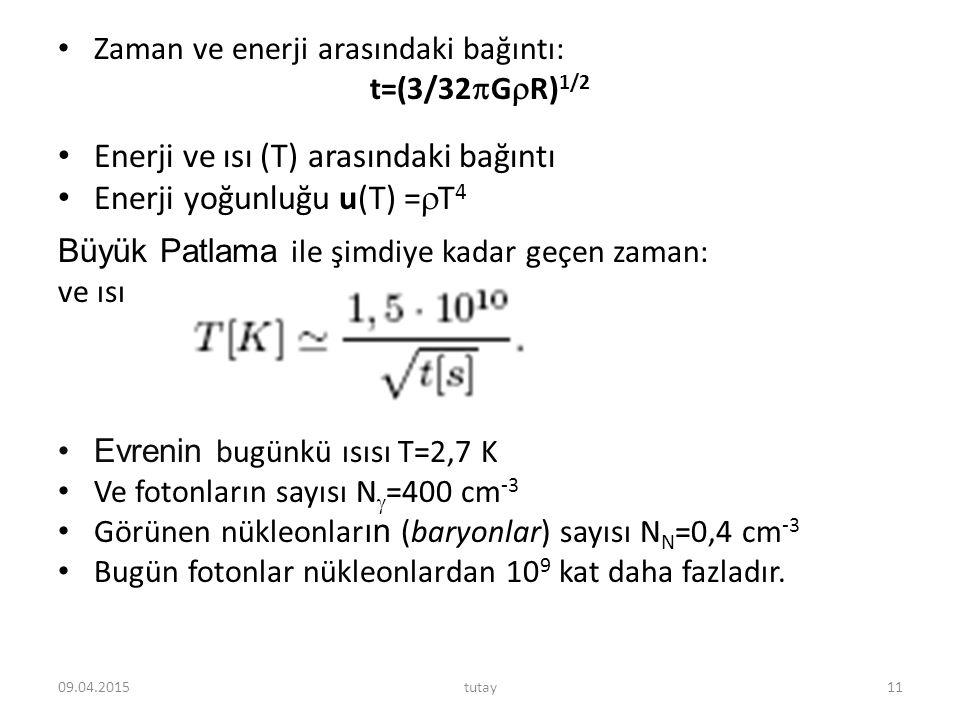 Enerji ve ısı (T) arasındaki bağıntı Enerji yoğunluğu u(T) =T4
