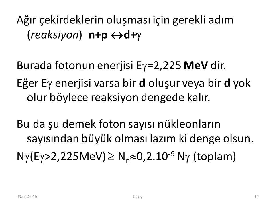 Ağır çekirdeklerin oluşması için gerekli adım (reaksiyon) n+p d+ Burada fotonun enerjisi E=2,225 MeV dir. Eğer E enerjisi varsa bir d oluşur veya bir d yok olur böylece reaksiyon dengede kalır. Bu da şu demek foton sayısı nükleonların sayısından büyük olması lazım ki denge olsun. N(E>2,225MeV)  Nn0,2.10-9 N (toplam)