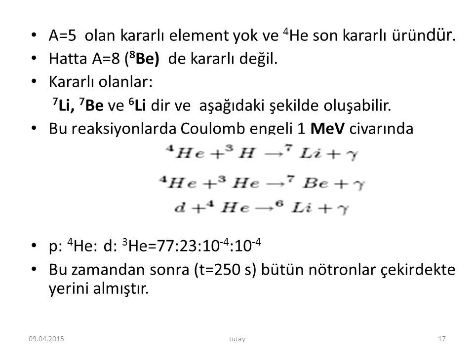 A=5 olan kararlı element yok ve 4He son kararlı üründür.
