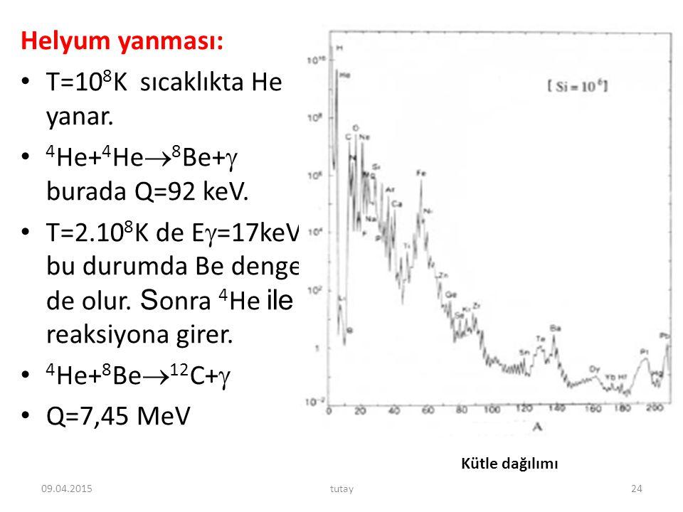 T=108K sıcaklıkta He yanar. 4He+4He8Be+ burada Q=92 keV.