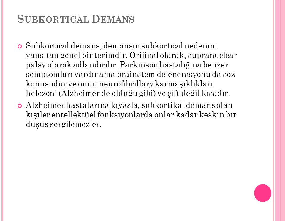 Subkortical Demans