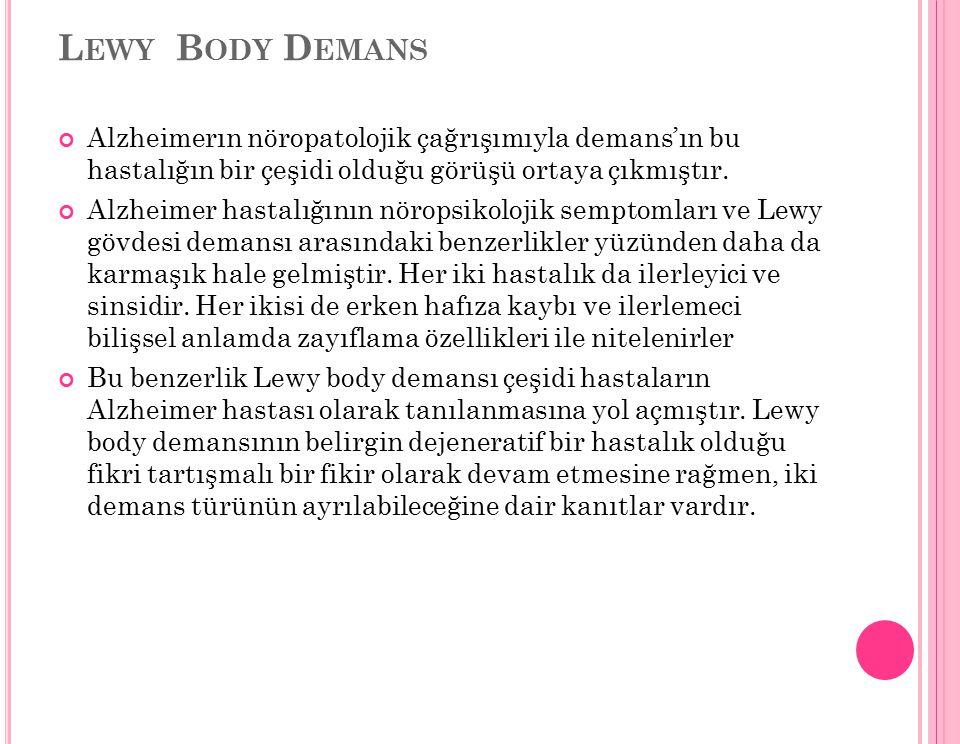 Lewy Body Demans Alzheimerın nöropatolojik çağrışımıyla demans'ın bu hastalığın bir çeşidi olduğu görüşü ortaya çıkmıştır.
