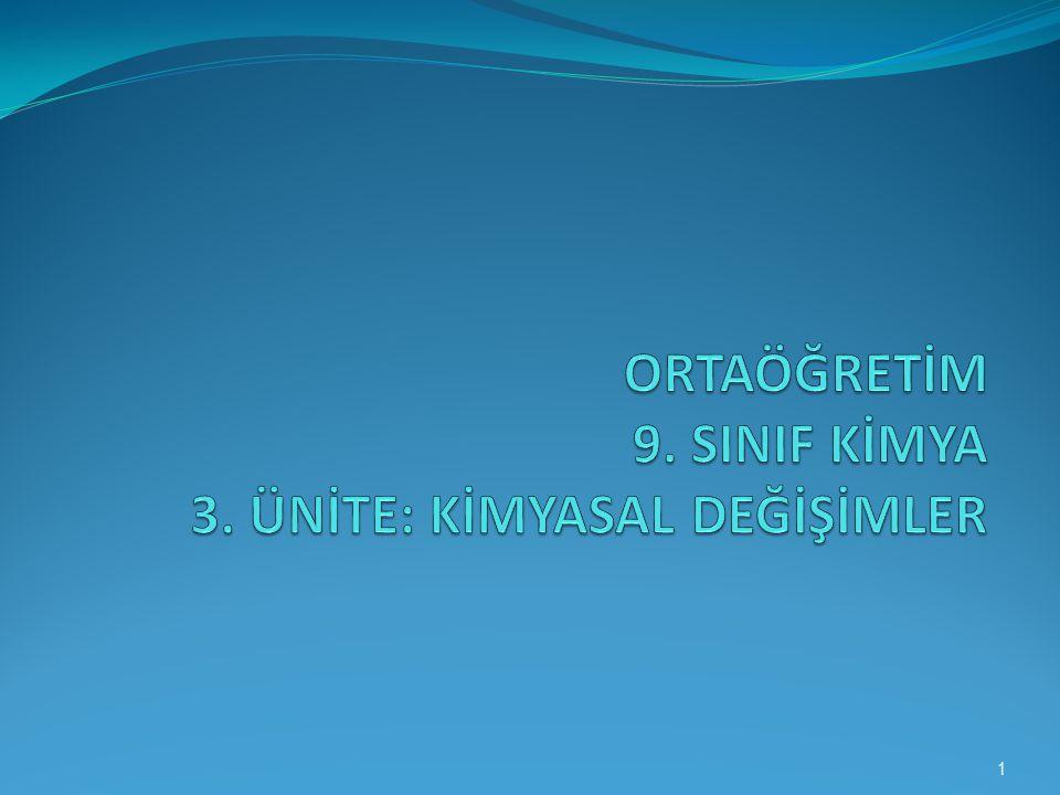 ORTAÖĞRETİM 9. SINIF KİMYA 3. ÜNİTE: KİMYASAL DEĞİŞİMLER
