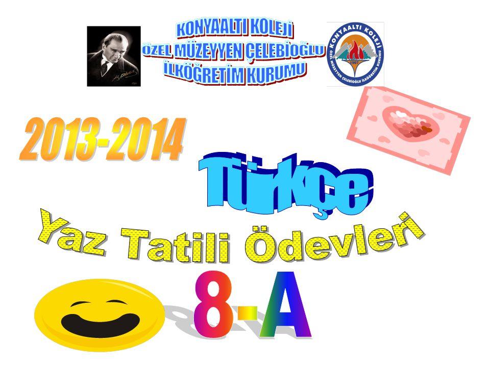 2013-2014 Türkçe Yaz Tatili Ödevleri 8-A