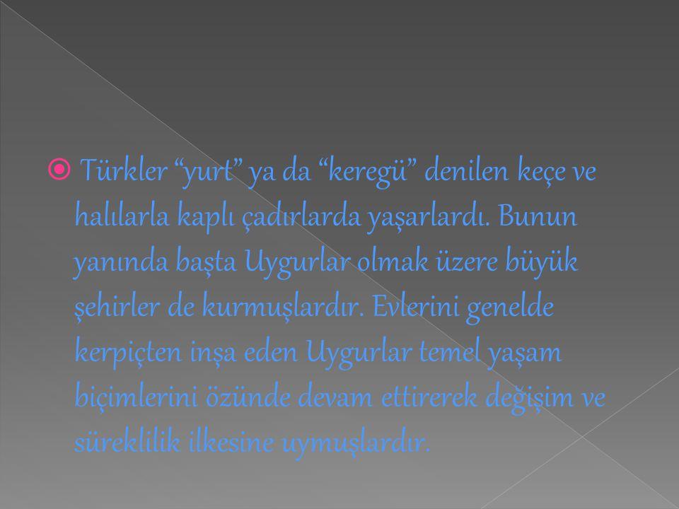 Türkler yurt ya da keregü denilen keçe ve halılarla kaplı çadırlarda yaşarlardı.