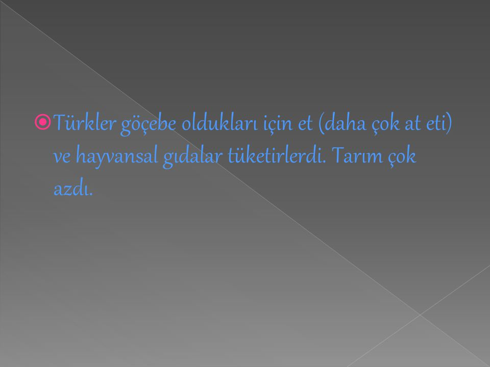Türkler göçebe oldukları için et (daha çok at eti) ve hayvansal gıdalar tüketirlerdi.