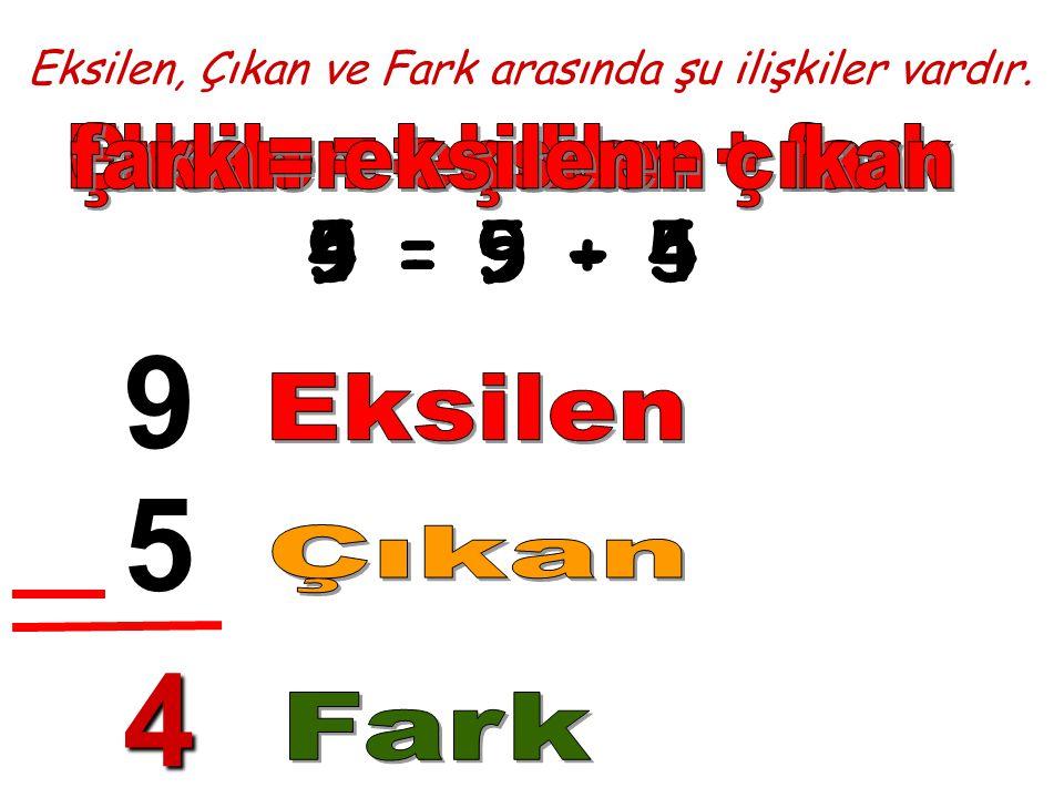 9 5 4 5 = 9 - 4 9 = 5 + 4 4 = 9 - 5 Çıkan = eksilen - fark