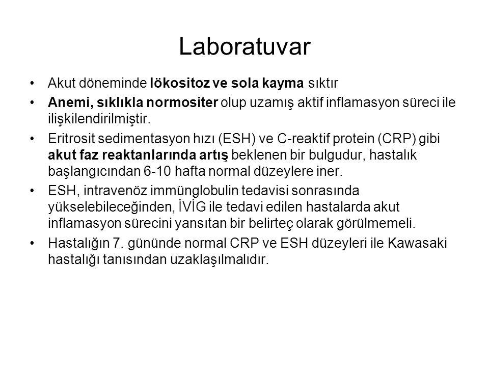 Laboratuvar Akut döneminde lökositoz ve sola kayma sıktır